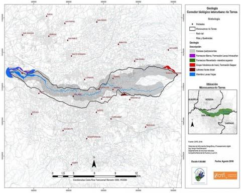 Mapa de la microcuenca del río Torres