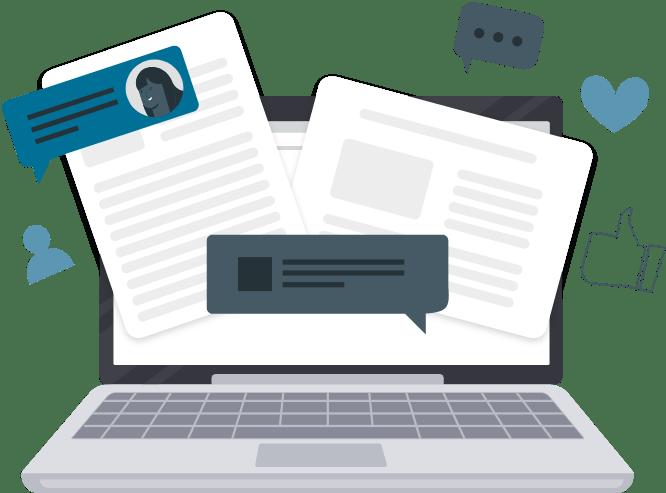 Imagen de computadora con documentos accesibles
