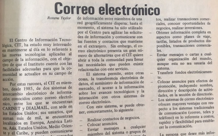 Hace 30 años llegó el correo electrónico al TEC. Periódico institucional Estructura. Primera quincena de mayo de 1987.