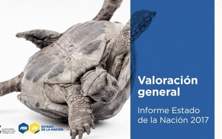 Imagen de una tortuga acostada de lado con sus pies y manos hacia arriba. La imagen lleva un título que dice Estado de la Nación.