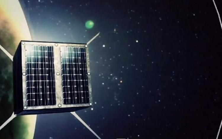 Ilustración de cómo se vería el satélite (un cubo) en el espacio.