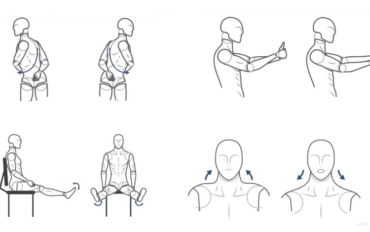 Ilustraciones de diferentes movimientos para realizar durante el trabajo.