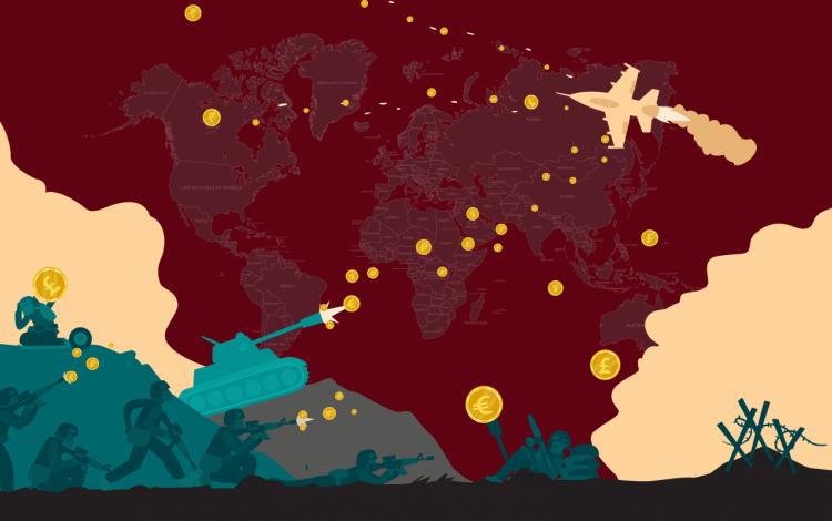 imagen ilustrativa de tanques y aviones que disparan dinero en mapa