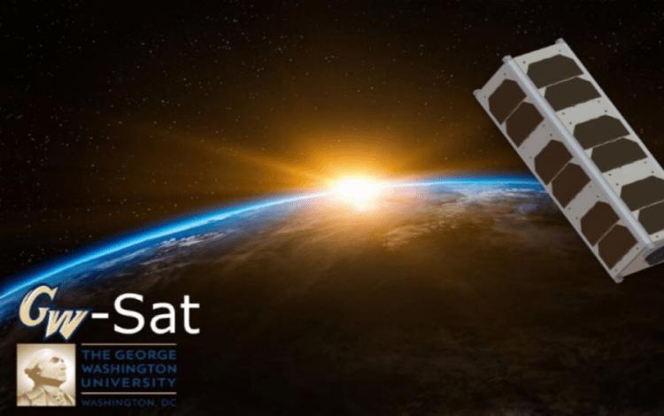 Ilustración de un satélite Cube Sat tipo 3U, con la Tierra de fondo.