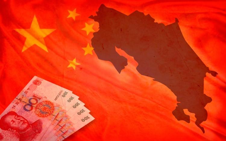 mapa de costa rica y bandera china con yuanes