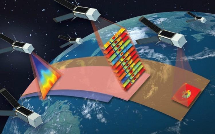 Ilustración de varios satélites alrededor de la Tierra.