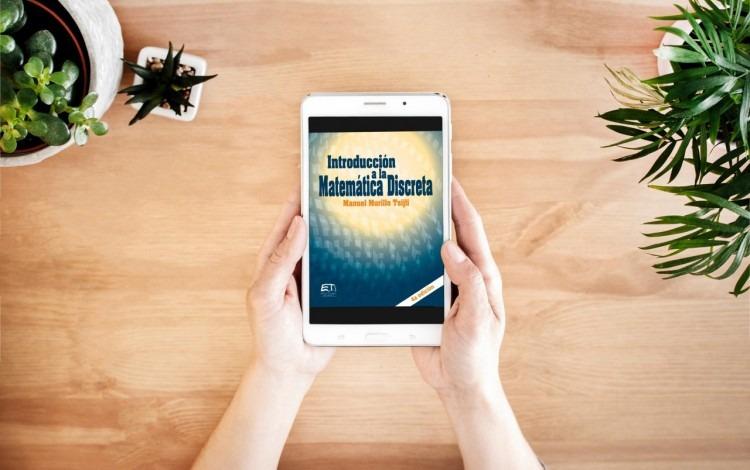 imagen de una tablet, con la portada de un libro.