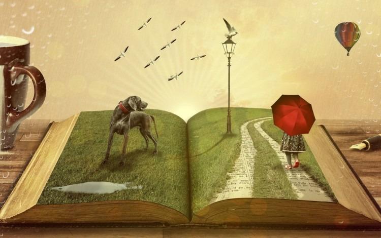 Ilustración de un libro abierto donde sobresalen varias figuras