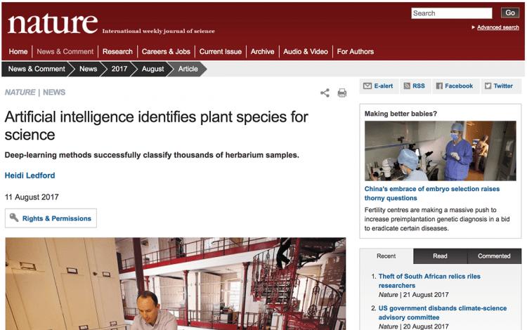 Captura de pantalla del artículo de Nature.