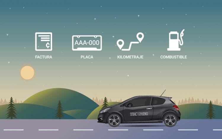 Imagen de un carro por la carretera, con íconos en el cielo de placa, kilometraje, combustible y factura como recordando que debe de incorporar esos datos siempre en Software de registro.