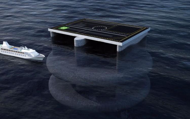Se aprecia como el diámetro del Ocean Grazer sería del largo de tres cruceros.