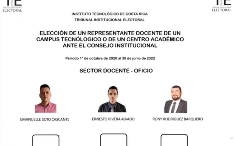 Papeleta del proceso electoral para elección de miembros ante el Consejo Institucional del TEC.