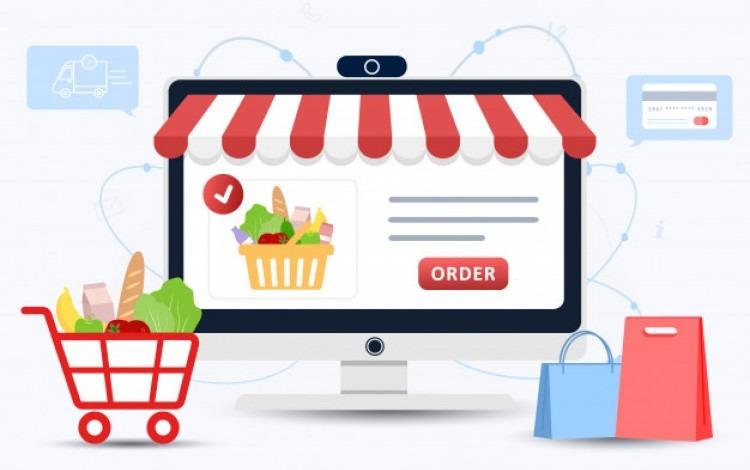 Imagen de una computadora con una lista de productos en línea.