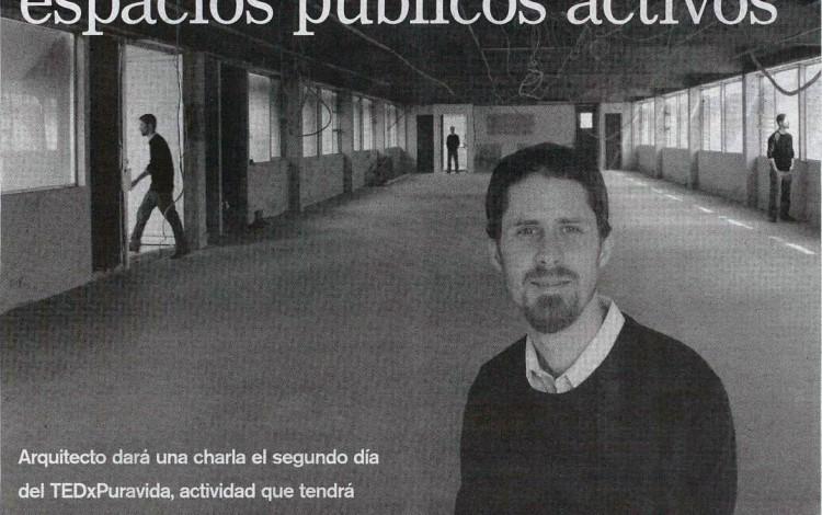 La Nación dedicó casi una página entera en su edición de este miércoles al arquitecto Felipe Pina, quien se presentará en el TEDx Pura Vida a inicios de marzo.