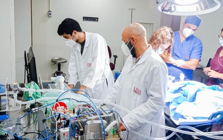 Médicos veterinarios de la UNA durante las pruebas en animales.