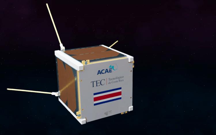 Animación de cómo se verá el primer satélite tico.