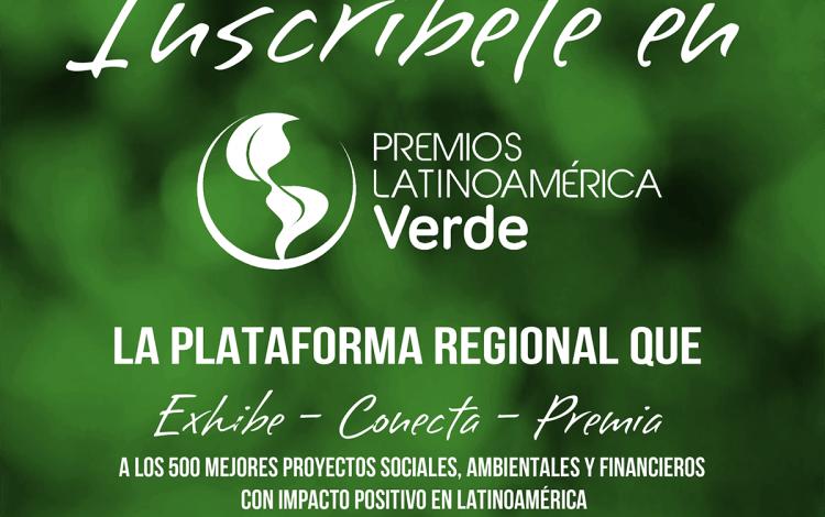 Panfleto de inscripción para los Premios Latinoamérica Verde.
