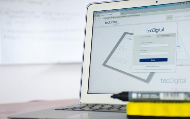 Pantalla principal del TEC Digital en una computadora.