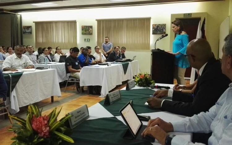 La Vicepresidenta de la República da un discurso.