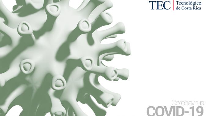 Ilustración de un virus con el texto Covid-19.