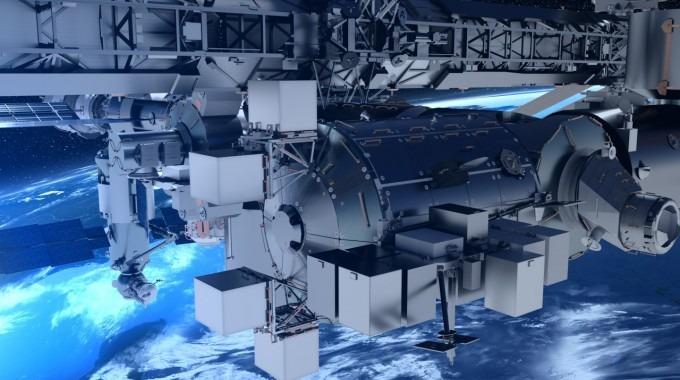 Ilustración de la Estación Espacial sobre la Tierra.