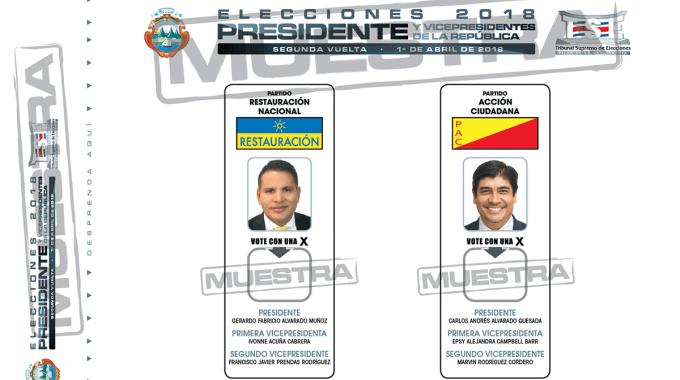 Muestra de papeleta para las elecciones presidenciales, Fabricio Alvarado a la izquierda y Carlos Alvarado a la derecha.