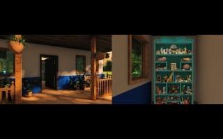 Diseño en 3D de la casa y el armario