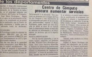 TEC anuncia la adquisición de una computadora la IBM - 4361. Periódico institucional Estructura. Primera quincena de mayo de 1987.