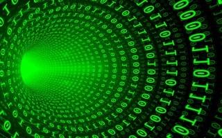 Visualización en 3D de información digital, unos y ceros.