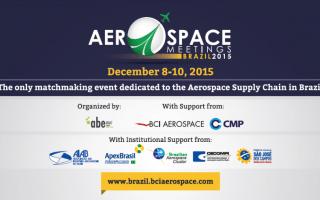 Banner promocional del Aerospace Meetings Brasil 2015.