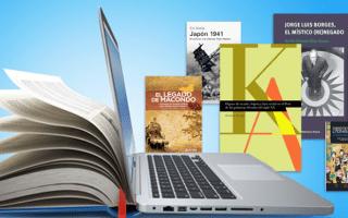 Libros y computadora.