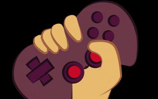 Dibujo de una mano sujetando un control de videojuegos.