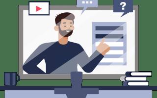 ilustración de profesor dando sus clases con contenido accesible