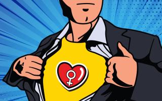 hombre con corazón y signo de mujer en pecho