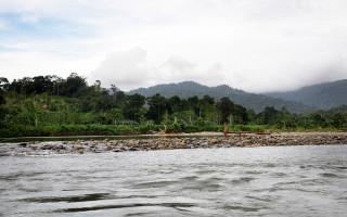 El río con las montañas al fondo.