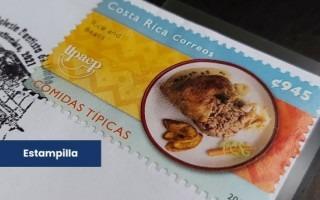 Estampilla conmemorativa del Mes Histórico de la Afrodescendencia en Costa Rica donde se destaca el rice and beans como platillo representante de la gastronomía caribeña
