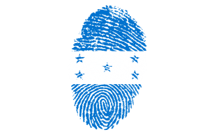 Diseño de una huella digital con los colores de la bandera de Honduras.