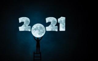 Ilustración de una persona colocando la Luna en lugar del cero en año 2021.
