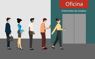 personas haciendo fila para obtener empleo