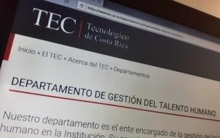pantalla con el nombre del Departamento de Gestión del Talento Humano