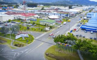 vista aérea de edificios del parque industrial