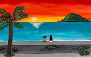 Pintura La maravillosa Uvita donde se aprecia la costa limonense y la isla Uvita al fondo.