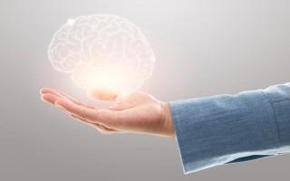 mano extendida con cerebro