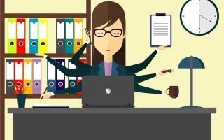 ilustración de secretaria con muchas manos y cada una con las funciones que realiza