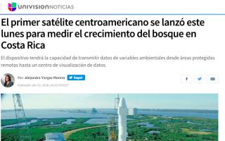 Captura de pantalla de la noticia de Univisión, en la que se ve una fotografía del cohete Falcon 9.