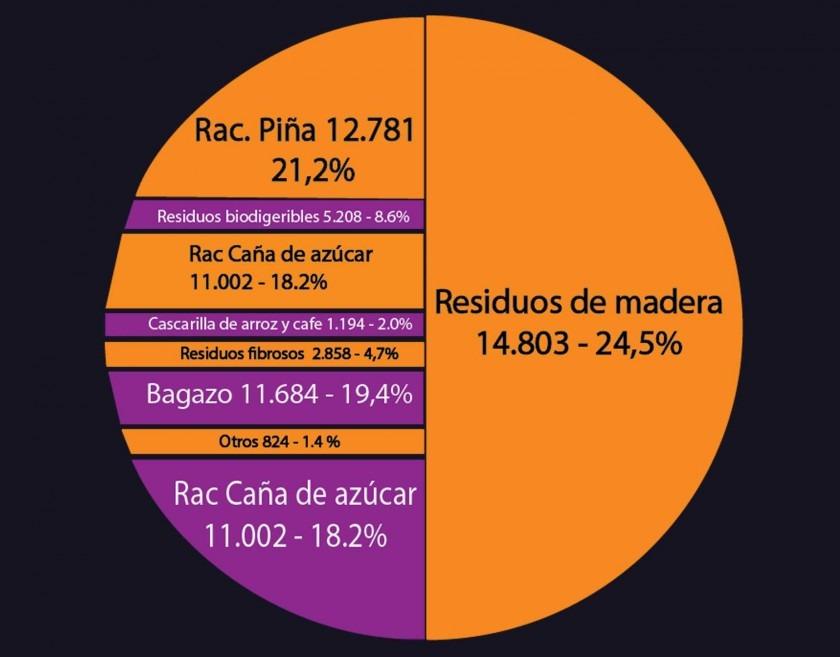 Gráfico: Fuentes de biomasa para la producción de energía.