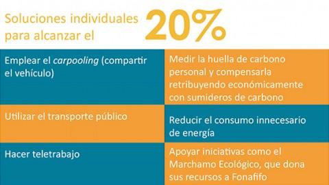 Recuadro, Soluciones individuales para alcanzar el 20%