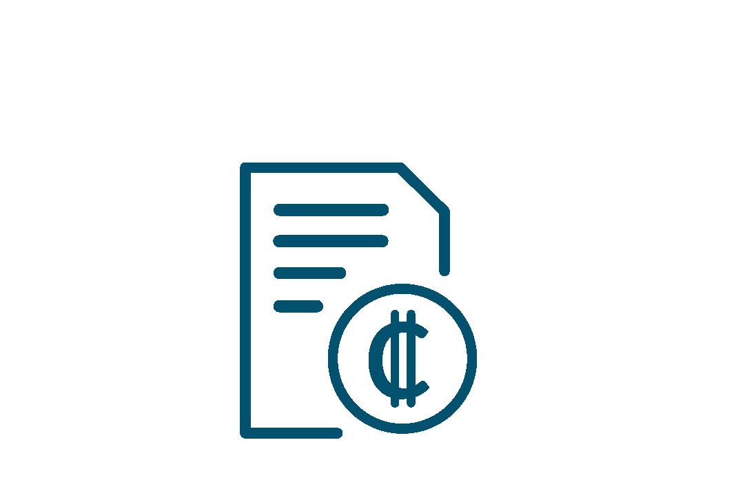 Hoja al lado de una moneda en colones, información financiera y presupuestaria