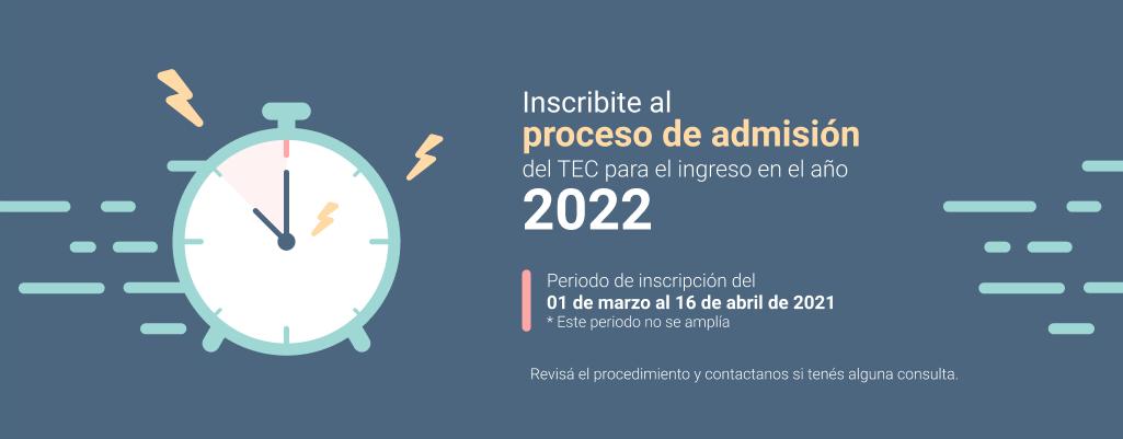 periodo de inscripción al proceso de admision del 01 de marzo al 16 de abril