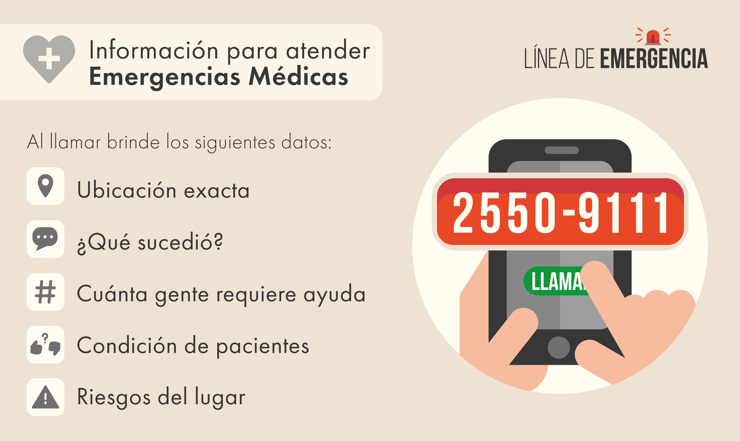 En caso de Emergencia médica o de seguridad en el TEC llame a 25509111 Brinde información sobre ubicación, tipo de incidente, personas que requieren ayuda y riesgos en el lugar